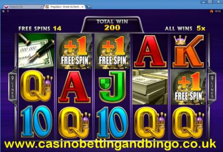Break Da Bank Free Spins Screen