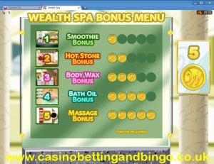 Wealth Spa Slot Machine Bonus Selection Screen