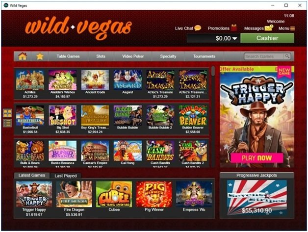 Wild Vegas online casino to play over 120 casino games