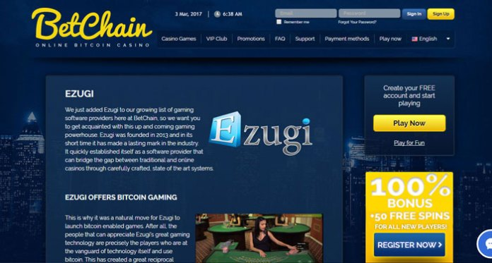 BetChain Now Offering Live Casino Games Powered by Ezugi