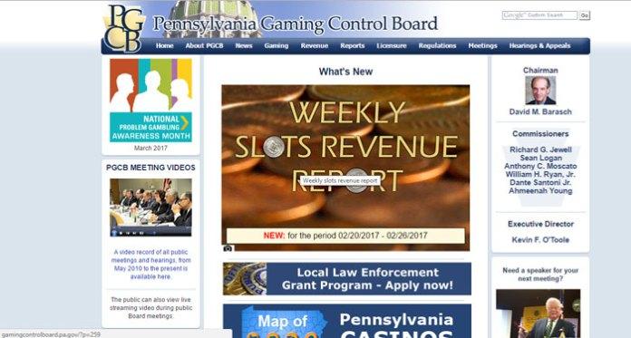 Pennsylvania Slot Revenue for December 2016