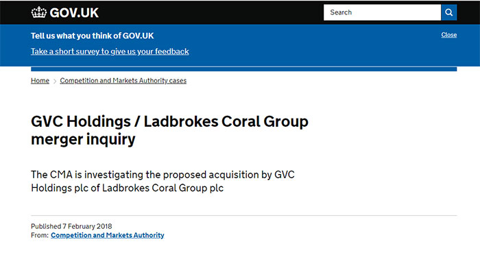 CMA Investigating Proposed Acquisition by GVC Holdings/Ladbrokes
