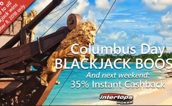 Columbus Day Blackjack Boost and Cashback Weekend at Intertops Poker