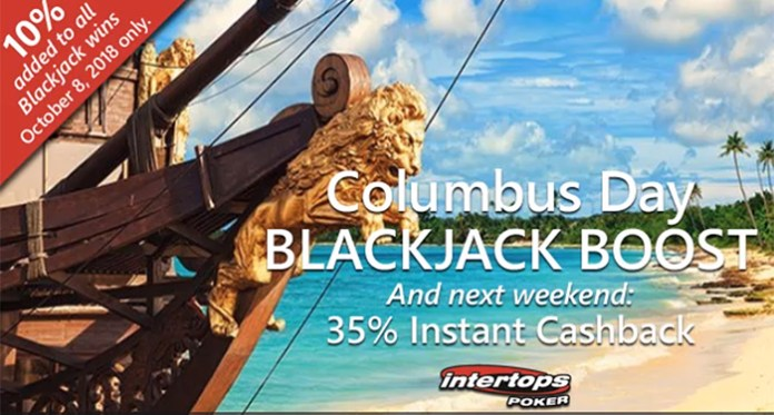 Columbus Day Blackjack Boost and Cashback Weekend at Intertops Poker