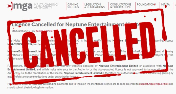 MGA Cancels License for Neptune Entertainment Limited