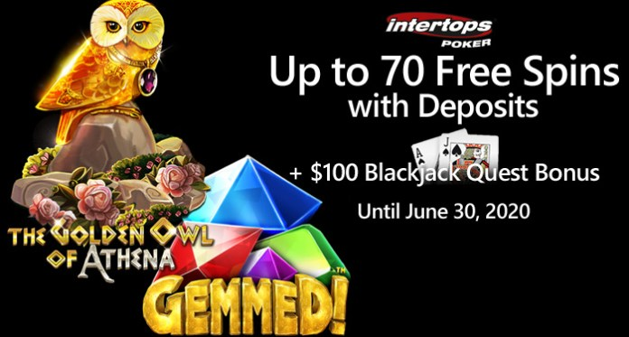 This Monday at Intertops, Blackjack Bonus and Free Spins on Betsoft Slots