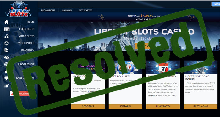 Liberty Slots Complaint – Resolved