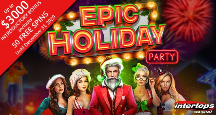 Intertops Casino - 50 Free Spins on RTG's Festive New 'Epic Holiday Party' Slot