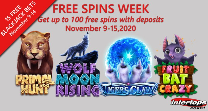 Free Spins and Free Blackjack This Week at Intertops Poker