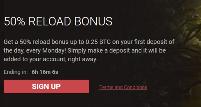 Get a 50% Monday Reload Bonus up to 0.25 BTC at Bitstarz