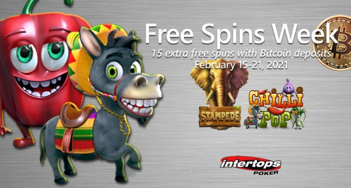 Intertops Poker Giving 15 Extra Free Spins to Players that Deposit in Bitcoins