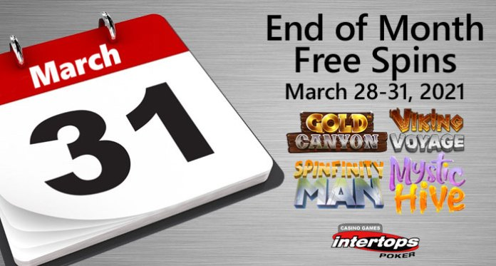 End of Month Special at Intertops Poker - 75 Free Spins on Gold Canyon