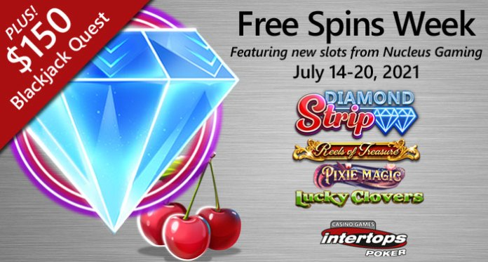 Free Spins on 4 New Slots and $150 Blackjack Prizes at Intertops Poker