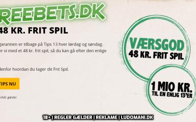 Få et gratis frit spil til Tips 13 og vind 1 mio. kr. den 20. september 2019