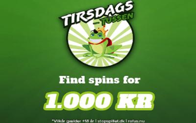 Nye tirsdags gratis spins – få op til 1.000 kr. i Tirsdagstussen
