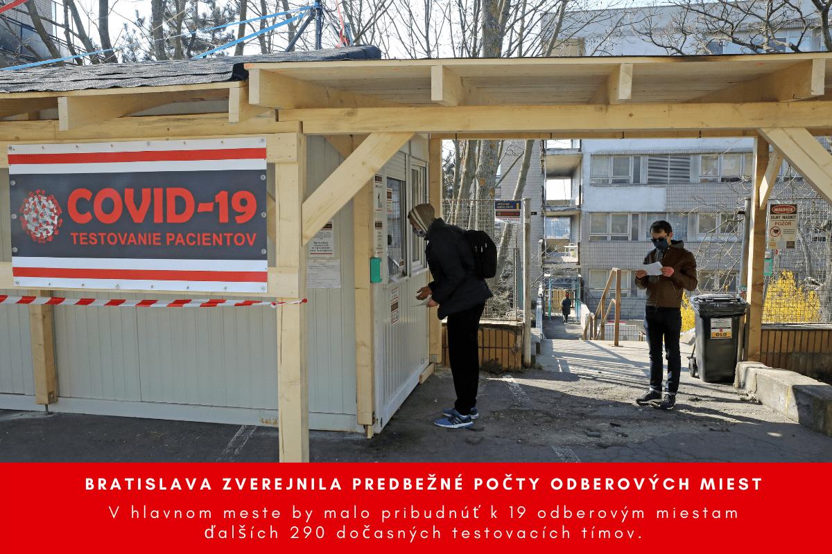 Bratislava zverejnila predbežné počty odberových miest v mestských častiach