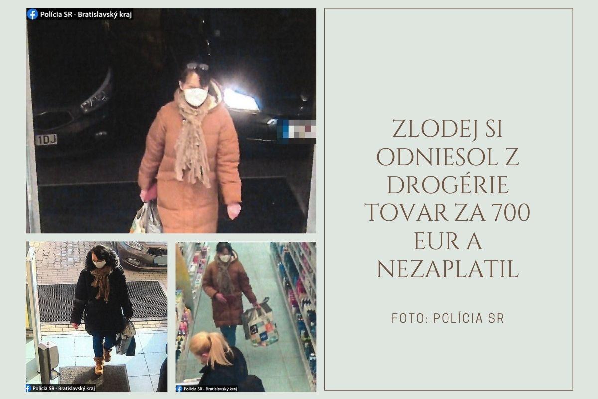 Zlodej si odniesol z drogérie tovar za 700 eur a nezaplatil