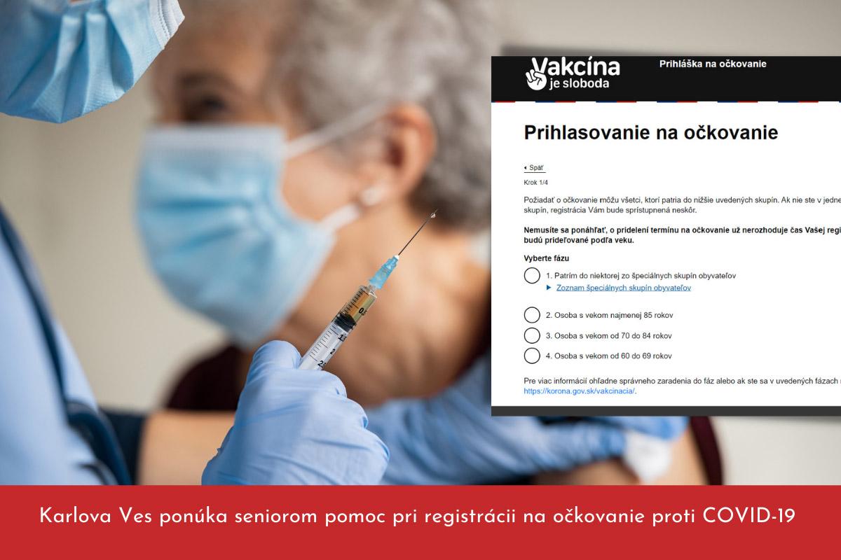 Karlova Ves ponúka seniorom pomoc pri registrácii na očkovanie proti COVID-19