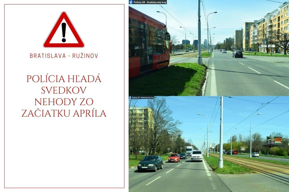 Polícia hľadá svedkov nehody na Ružinovskej zo začiatku apríla