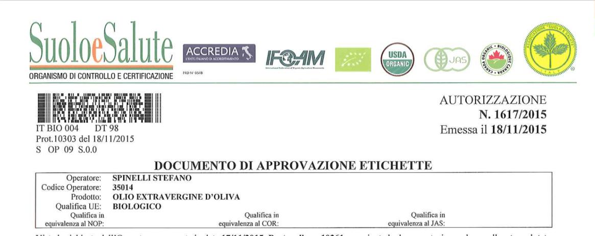 Certificazione BIO olio