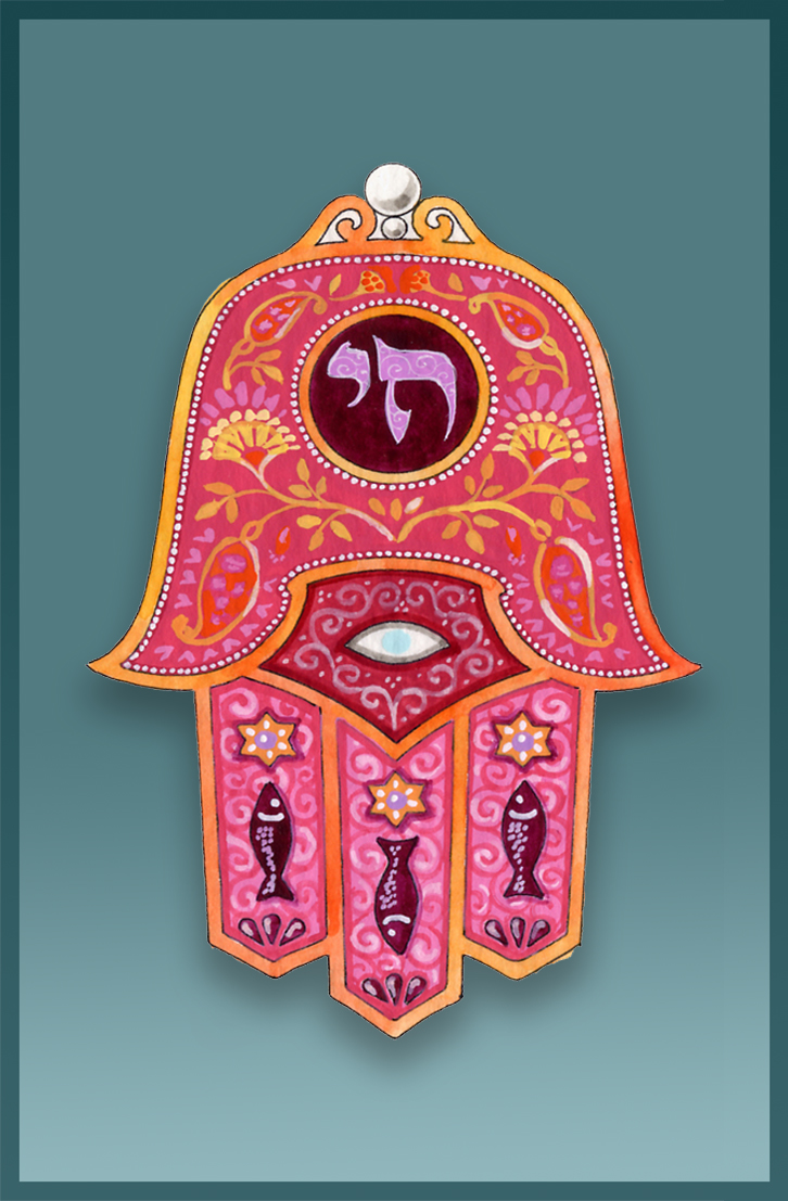 Hamsa Red Chai Caspi Cards & Art