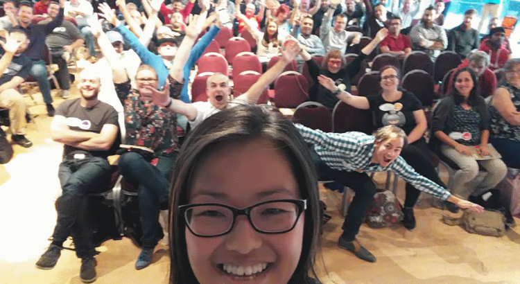 Cassandra's view of the audience from the stage after a 99 second talk at TestBash Manchester 2016