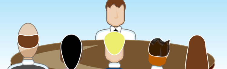 Illustration of one person sitting at a table, facing five people on the other side
