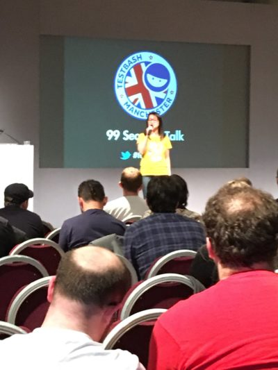 Cassandra Doing a 99 Second Talk at TestBash Manchester 2017