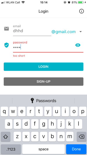 Screenshot of mobile app shows the password manager option on the keyboard