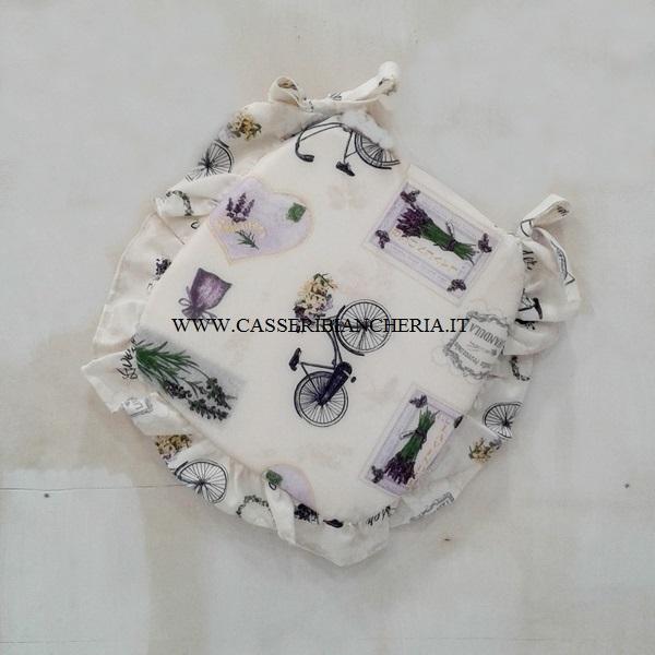Cuscini per sedie sagomati con volant violet lavander  CASSERI BIANCHERIA