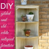 Gilded and Antiqued Old White Corner Shelf