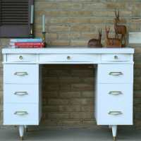 White & Gold Midcentury Modern Desk