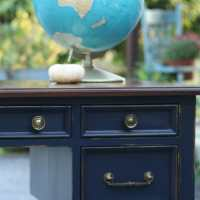 Coastal Blue and Java Gel Vintage Desk