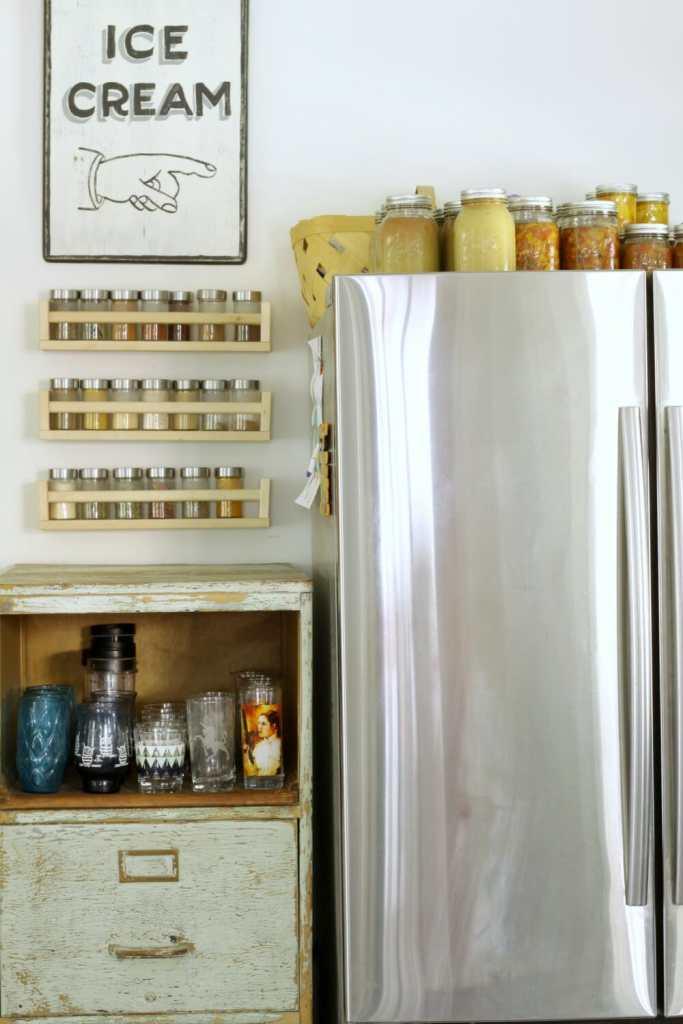 preserves-on-fridge-industrual-cabinet-kitchen-storage