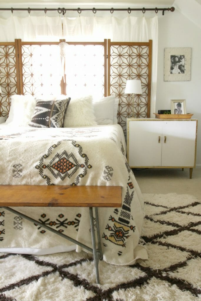Vintage Indian Blanket in Boho Bedroom