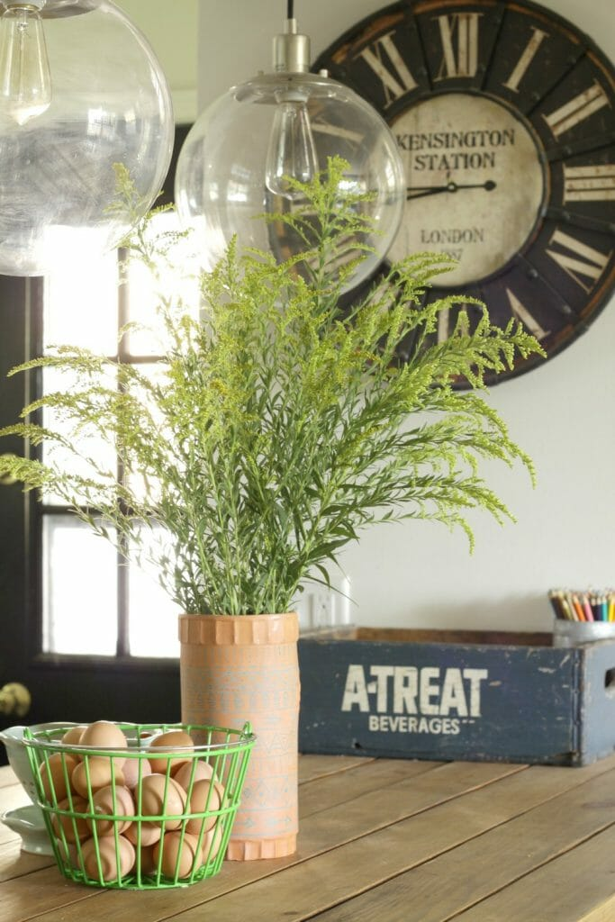 vintage-wine-cooler-vase-rustic-clock