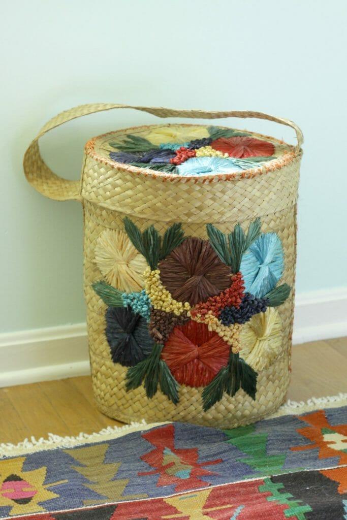 Vintage Boho Lidded Basket