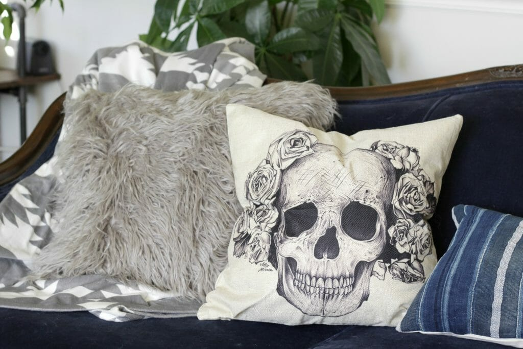 Fur Pillow and Skull Pillow