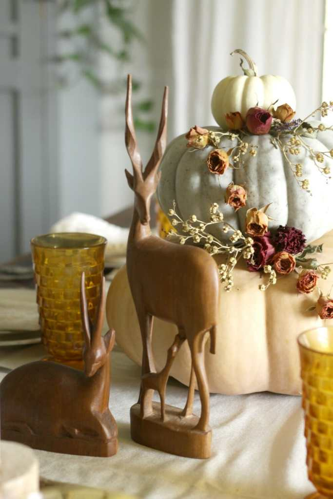 Dried Floral and Tiered Pumpkin Centerpiece on Fall Table