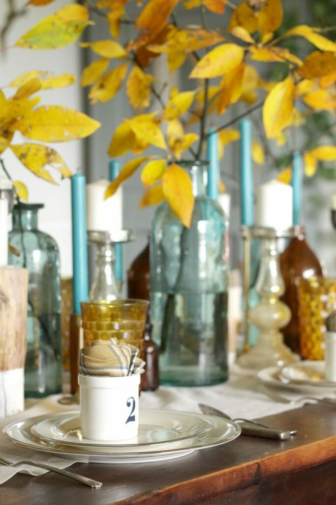 Eclectic Thanksgiving Table in Blue and Brown