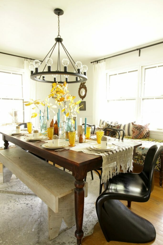 Modern Vintage Eclectic Dining Room at Thanksgiving
