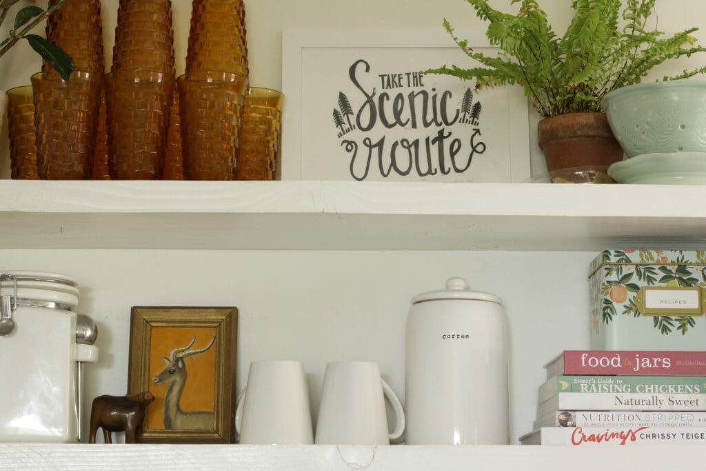 Earthy and Aqua Kitchen Shelfie