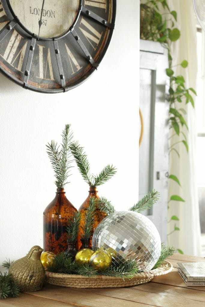 Amber glass, gold ornaments, greenery,disco ball