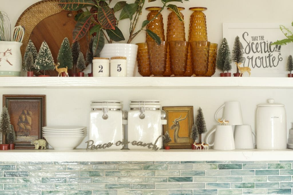 Vintage Style Christmas Decor on Open Kitchen Shelving