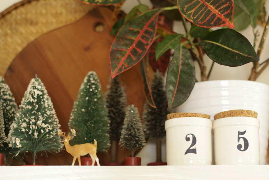 Vintage Bottle Brush Tree Collection on shelf