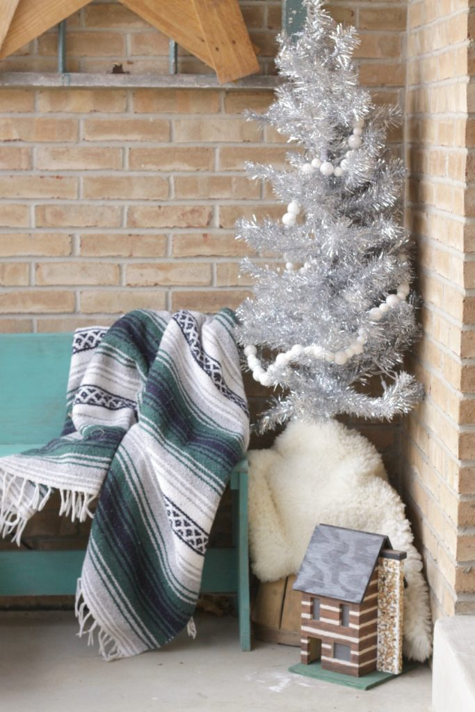 Silver Tinsel Tree on Bohemian Christmas Porch