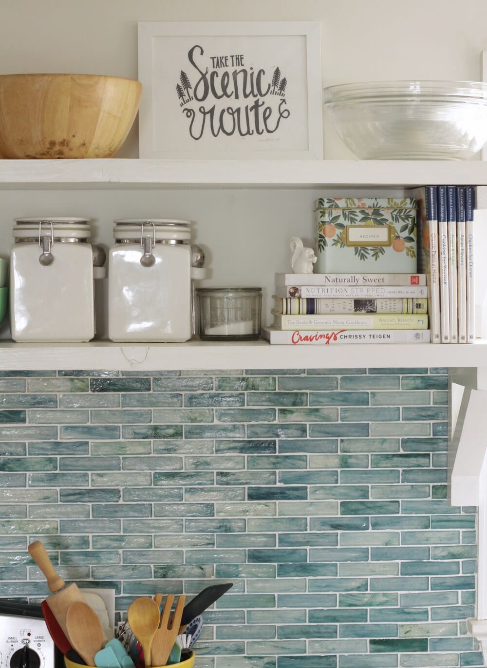 Utilitarian Kitchen Shelves  Open Shelving Organization