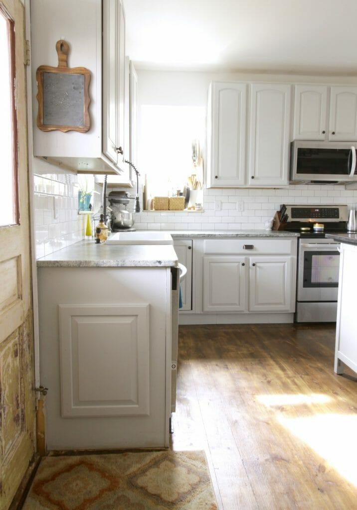 Gray Farmhouse Kitchen with Original Doors