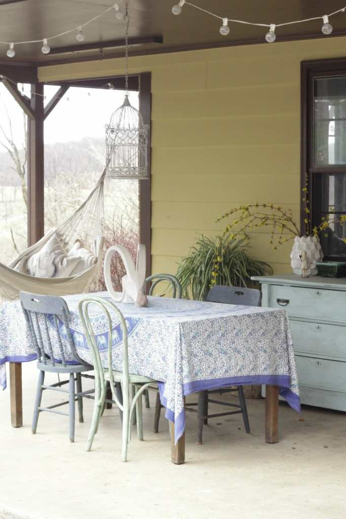 Vintage Boho Spring Porch in Blues and Greens