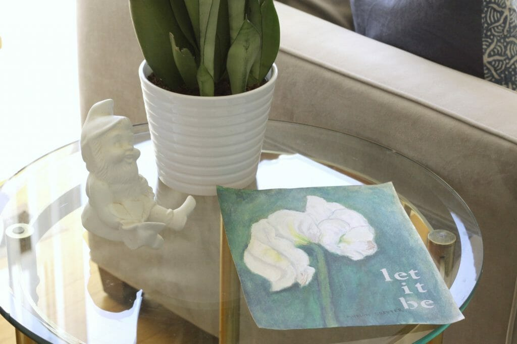 Gnome & Spring Art on Side table